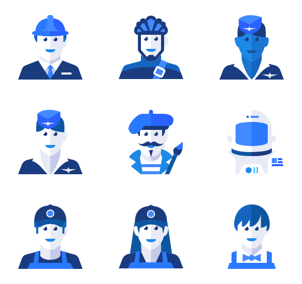 Job vector person. Blue color icons free