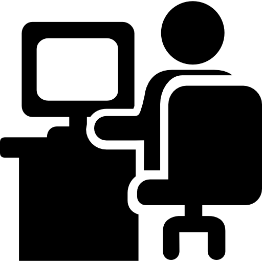 Job vector stick figure. Man sitting on office