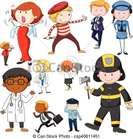 Set of people doing. Jobs clipart graphic free stock