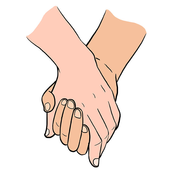 Fingers drawing friendship. How to draw holding