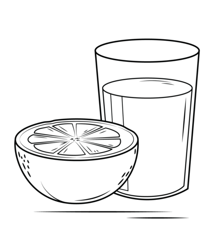 Juice clipart colouring page. Grapefruit coloring free printable picture transparent
