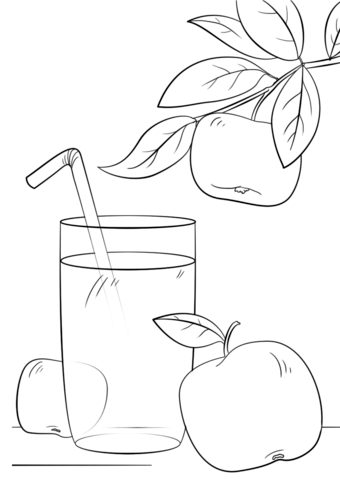 Juice clipart colouring page. Apple coloring free printable