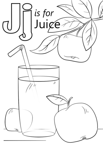 Juice clipart colouring page. Letter j is for