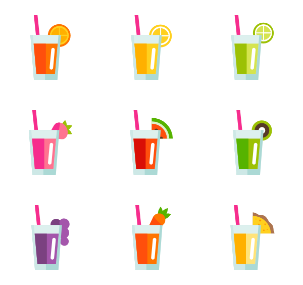 Juice vector. Icons free fruit and