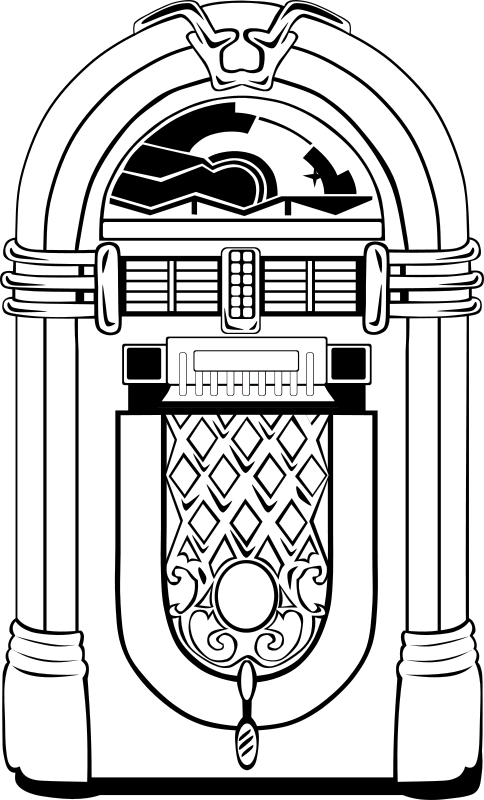 Vector records jukebox. Free fifties coloring page