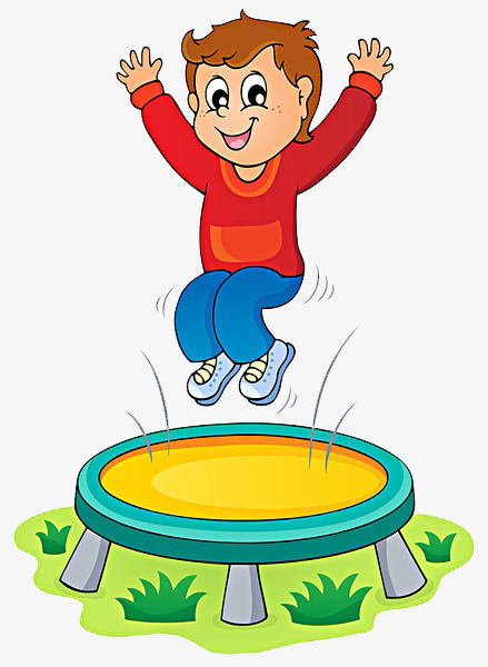 Jump clipart. Child jumping trampoline happy
