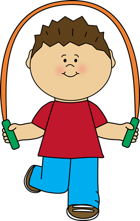 Jump clipart. Boy playing with rope