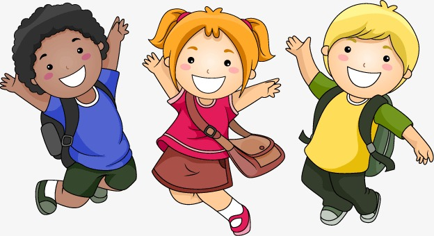 Jump clipart child jump. Three children jumping cartoon