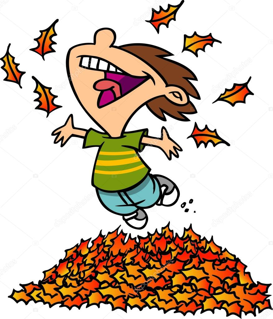 Cartoon boy jumping in. Jump clipart leaf pile graphic library