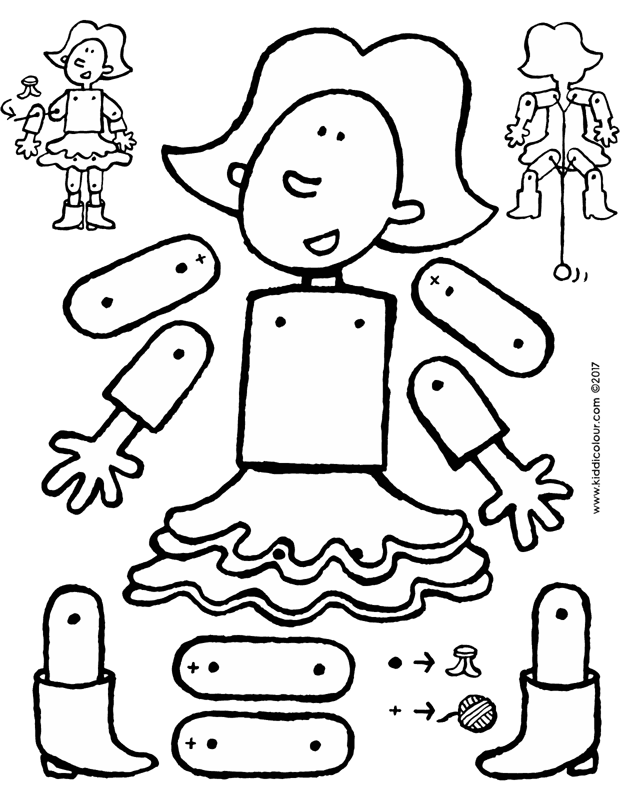 Pins drawing doll. Emma as a jumping