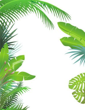 Jungle clipart jungle foliage. Leaf border quoteko best