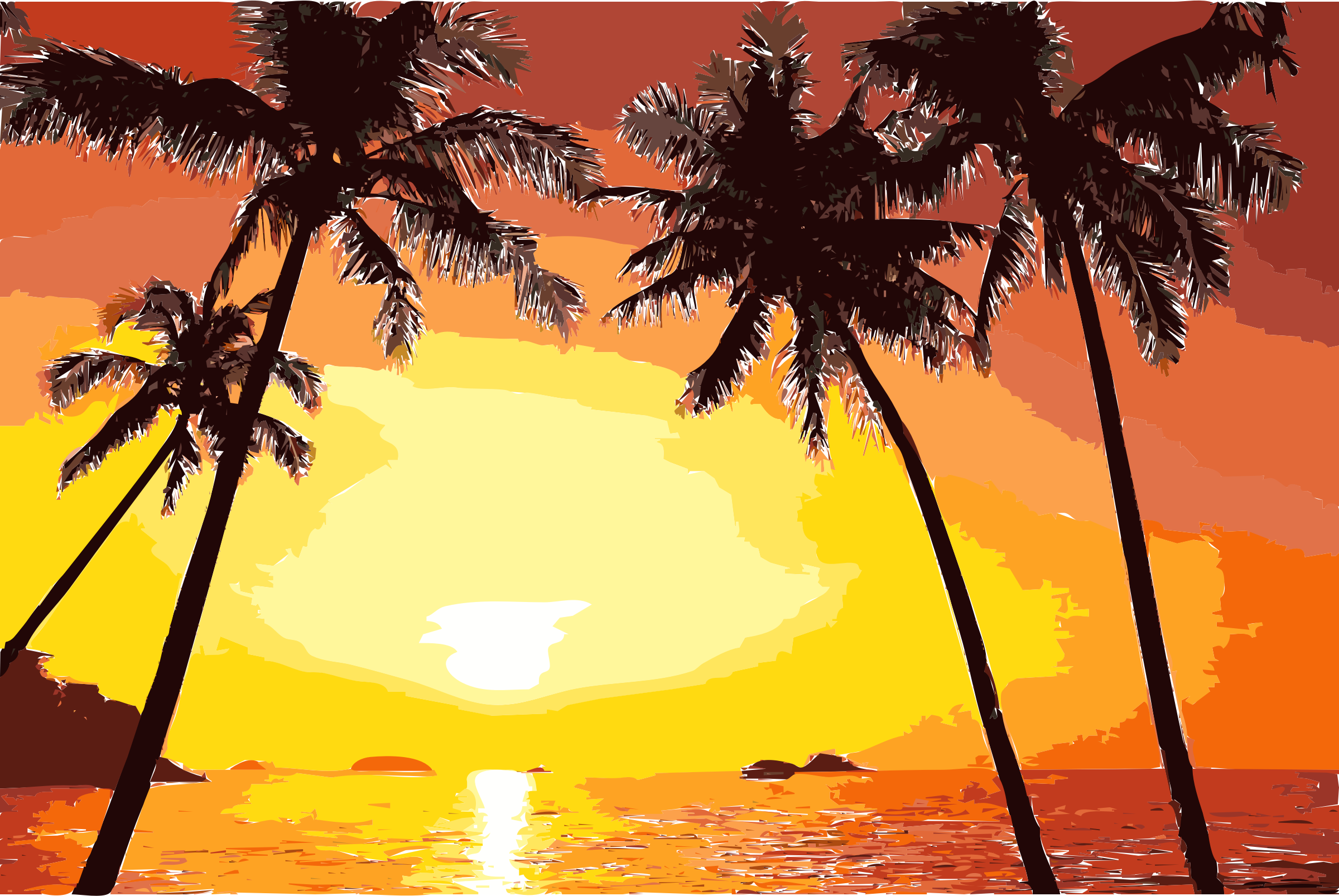 Tropical tree and sunset png. Free cliparts download clip
