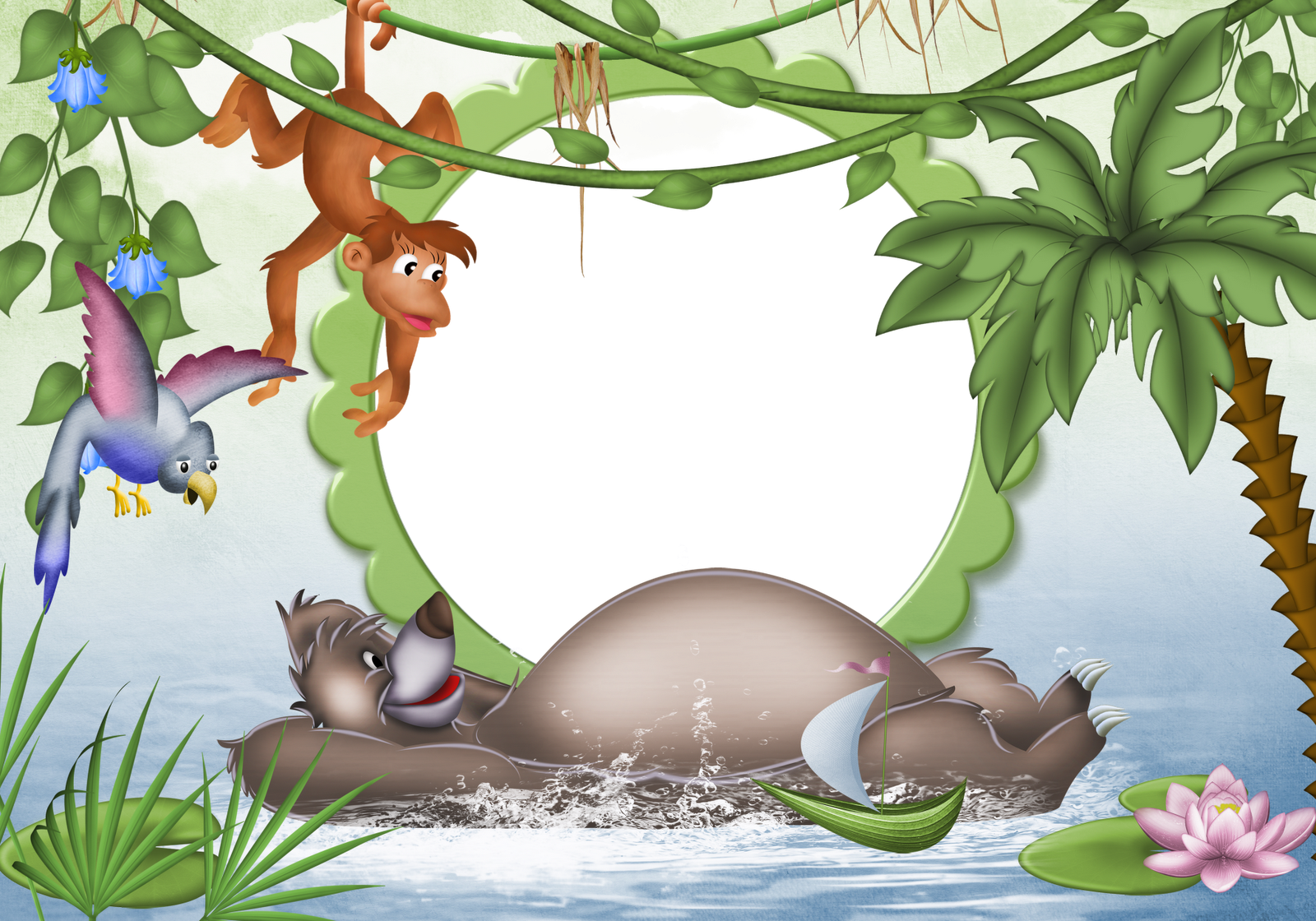Jungle clipart transparent. Kids photo frame gallery