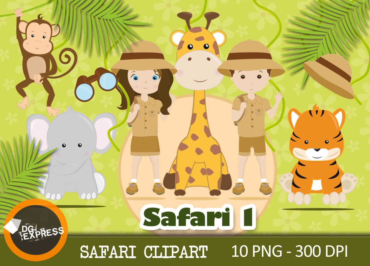 Jungle clipart wild jungle. Safari digital animal african