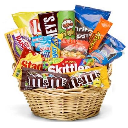 Junk clipart auction basket. The food and snacks