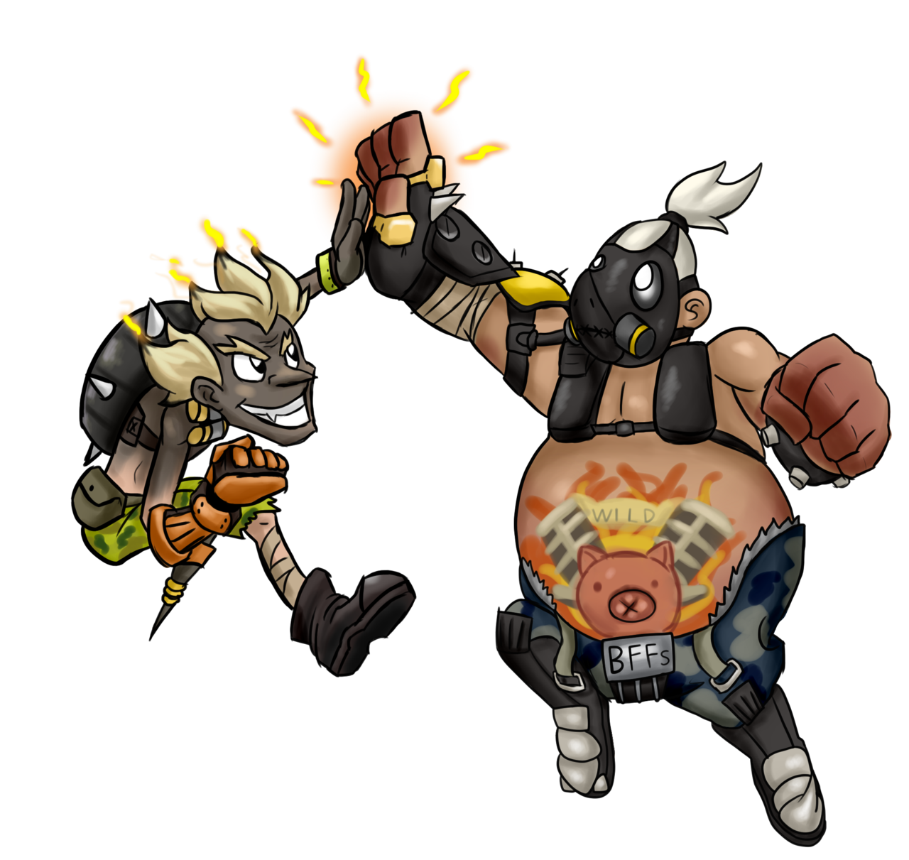 Junkrat 1280x720 png. And roadhog by jamoart