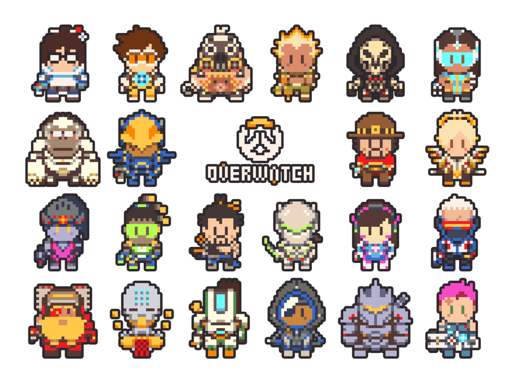Junkrat 1280x720 png. Overwatch pixel art by