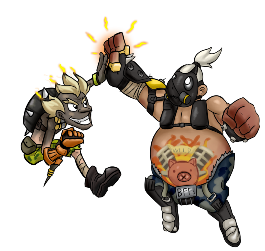Roadhog png. Junkrat and by jamoart