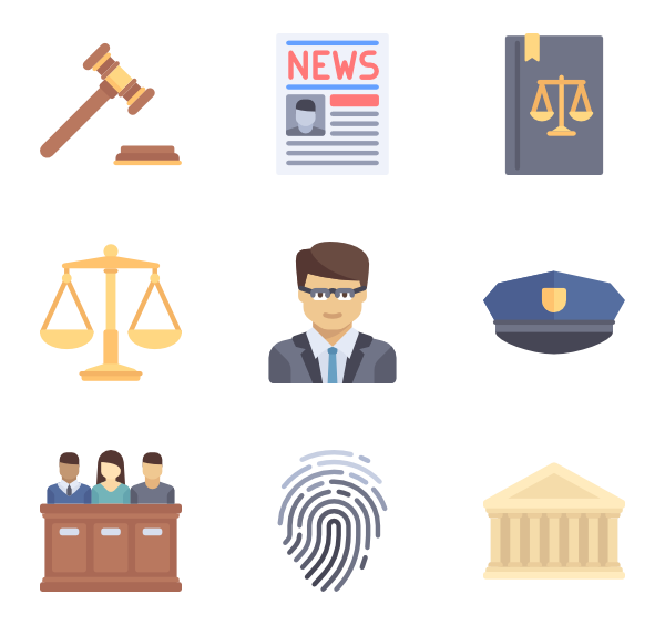 Symbols vector infographic. Justice icon packs