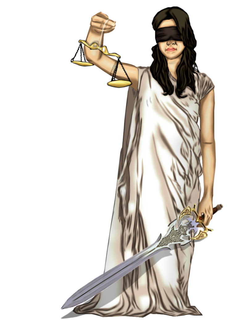Justice vector statue. Blind clip art lady