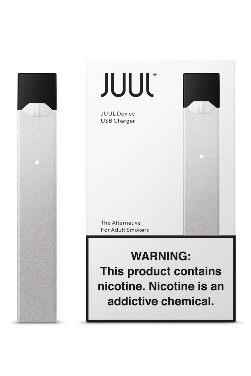 Juul transparent nicotine. Silver device kit free