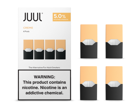 Juul transparent nicotine. Creme pods by bawadi