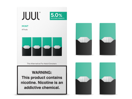 Juul transparent nicotine. Cool mint pods by
