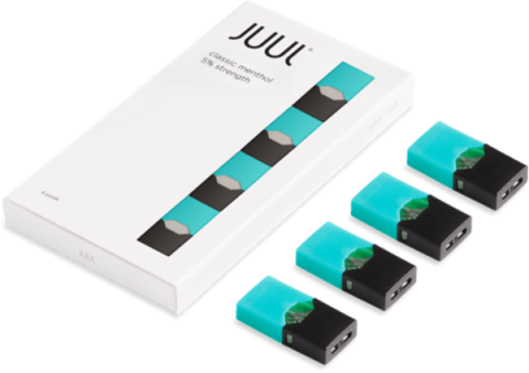 Juul transparent royal blue. Pods classic menthol in