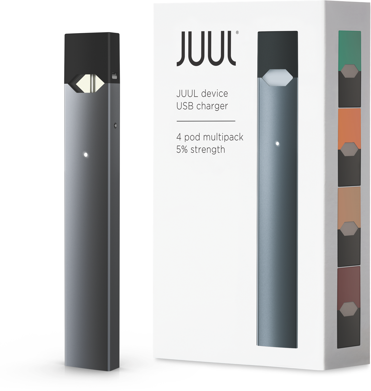 Juul transparent usb. Starter kit pods