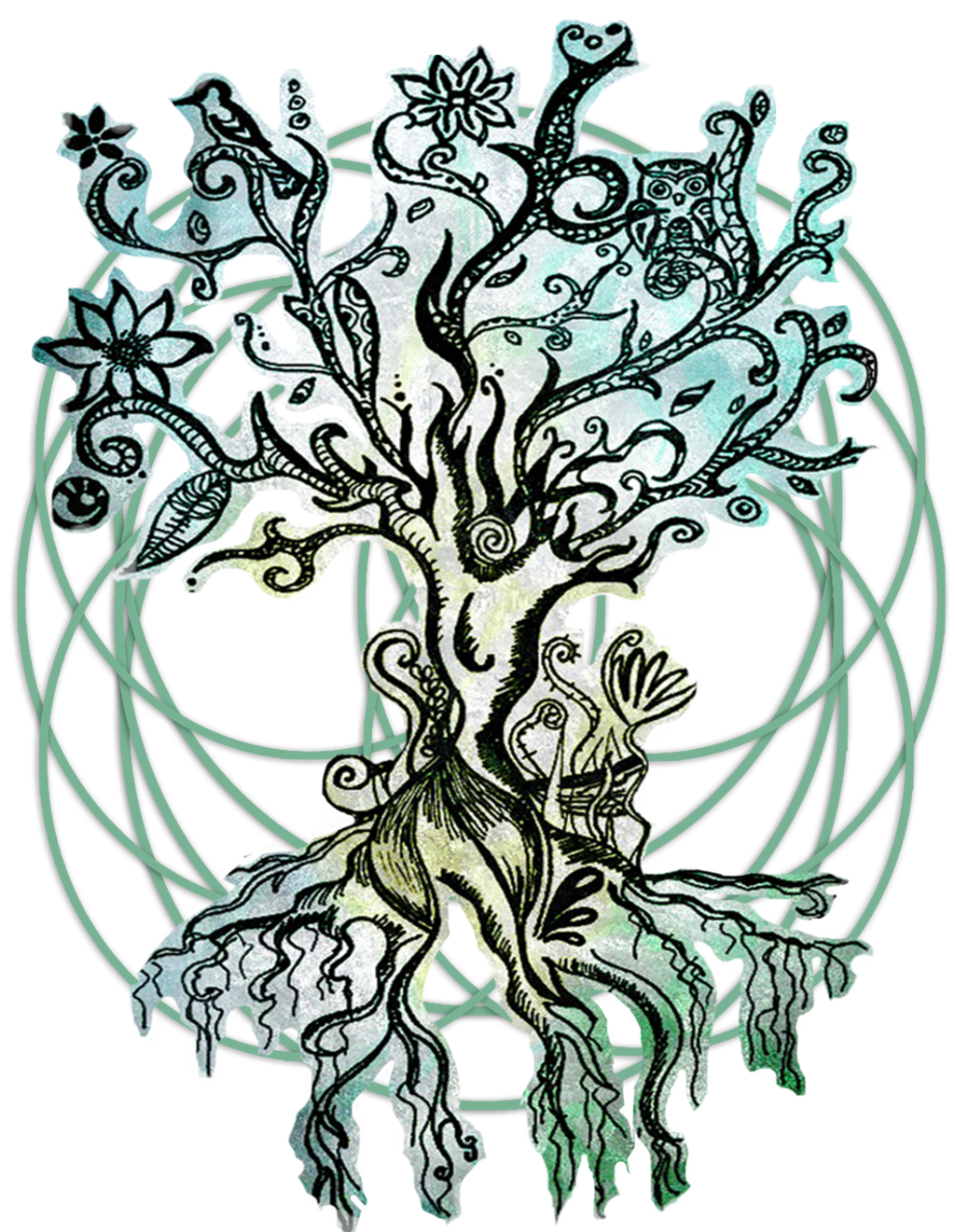Kali drawing psychedelic. Coloured tree by fairytale