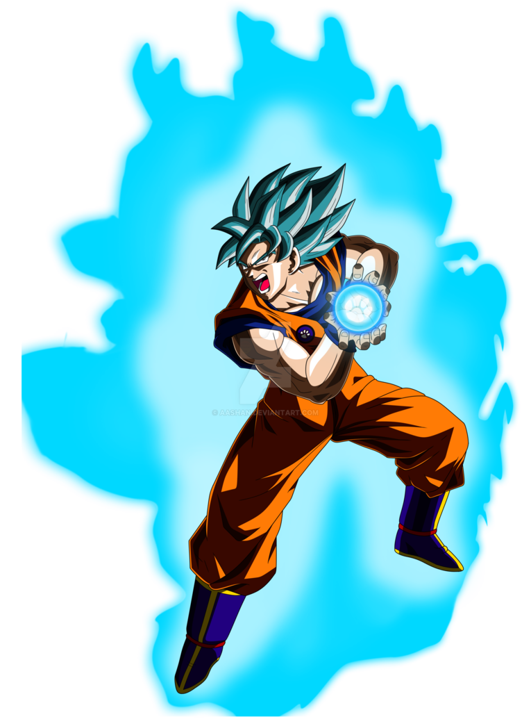 Kamehameha transparent blue. Goku super saiyan pose