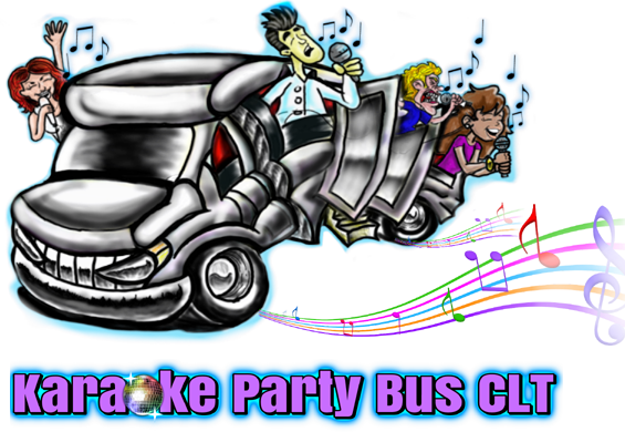 Bus of charlotte nc. Karaoke party png banner black and white stock
