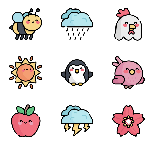 Kawaii animals png. Icon packs vector