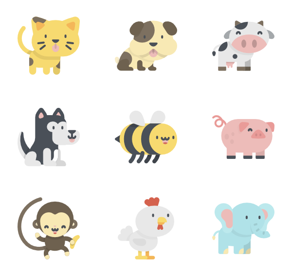 Kawaii animal png. Animals icon packs