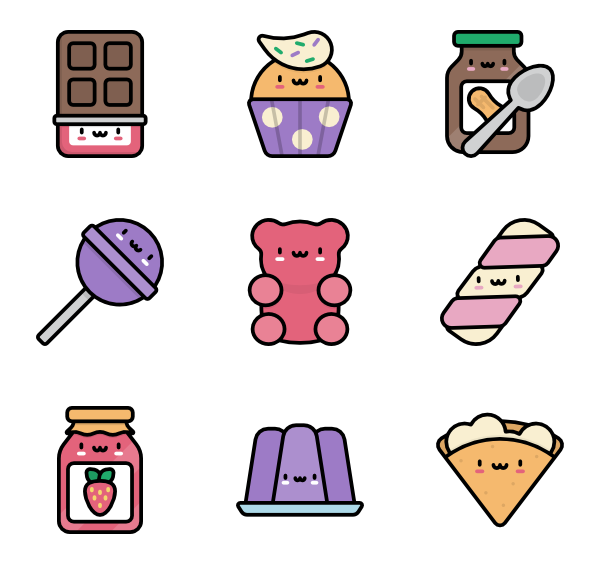 Kawaii candy png. Food icon packs
