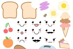 Kawaii clipart. Food vectors and