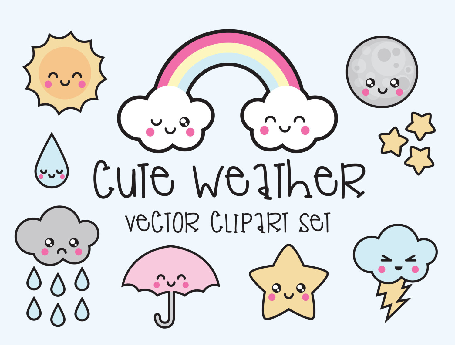 Kawaii clipart. Premium vector weather this