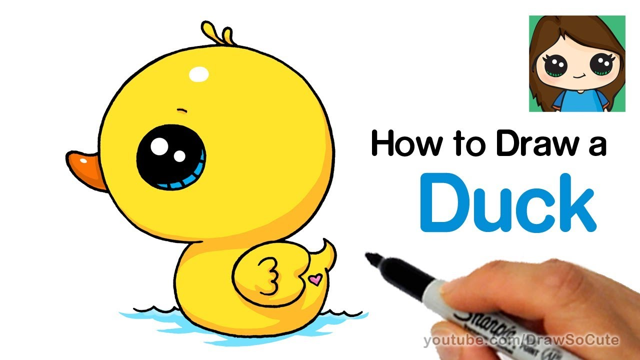 Kawaii clipart duck. How to draw a