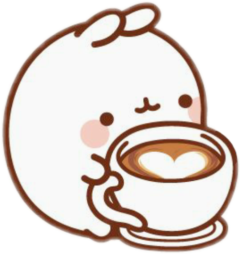 Molang transparent brown. Kawaii coffee sticker by