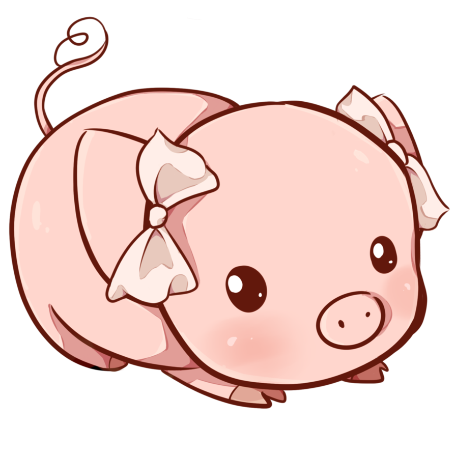 Pig by dessineka on. Dibujos kawaii png clip black and white library