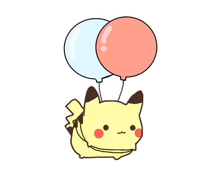 Kawaii pokemon png. Cute pikachu ballon no