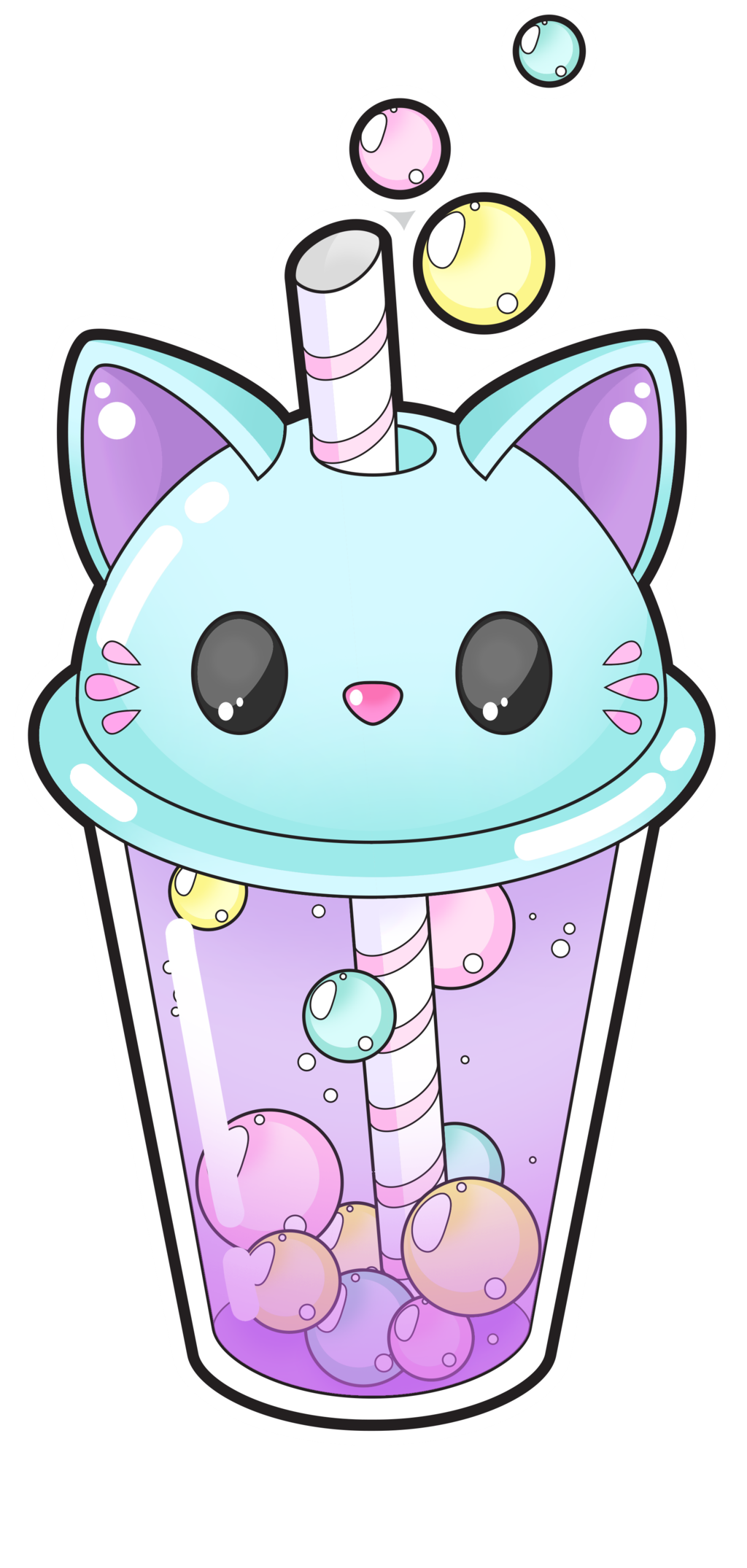 Macaroon drawing wallpaper. Cute cat bubble tea