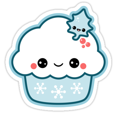 Kawaii stickers png. Snowflake cupcake sticker by