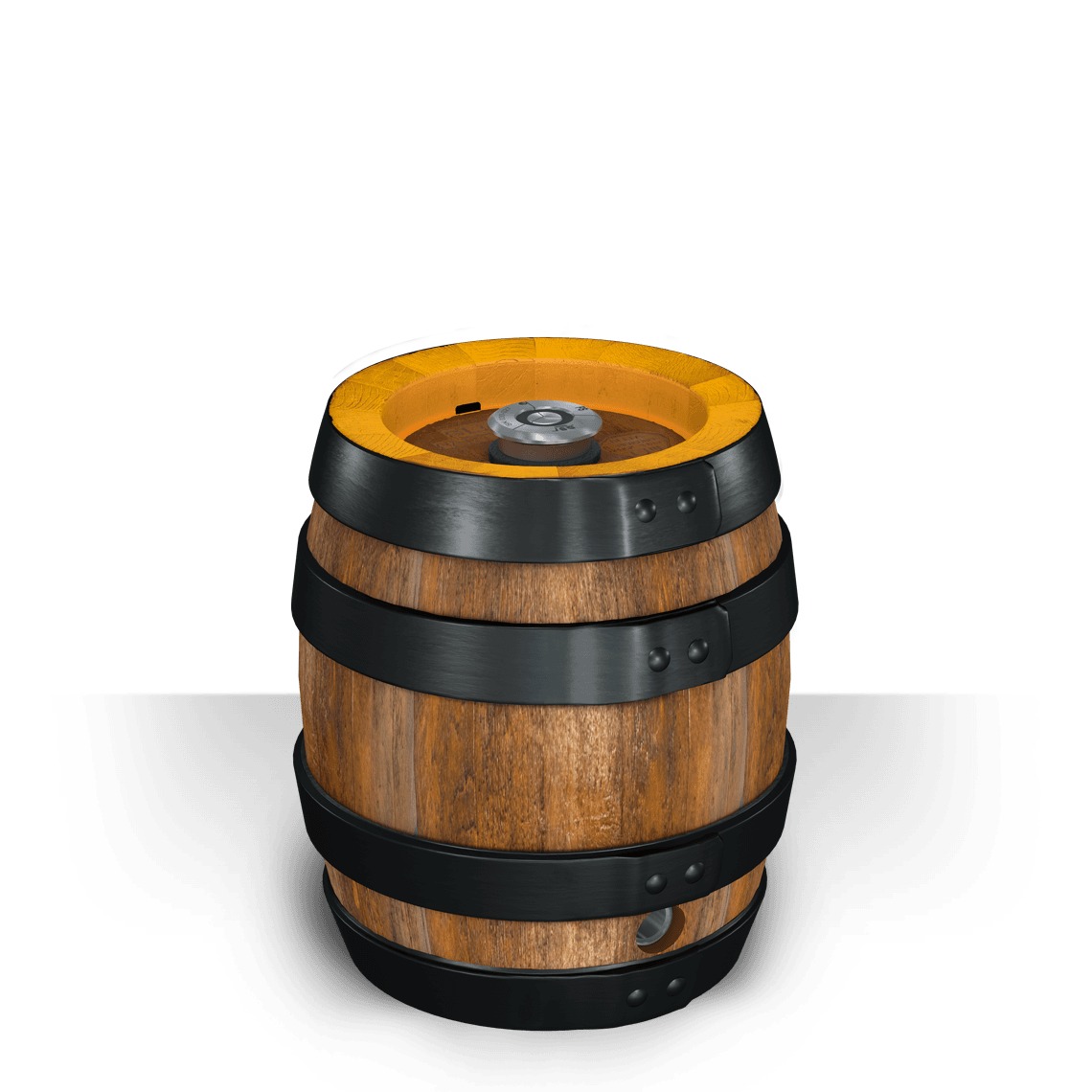 Keg drawing wood barrel. The party stainless steel