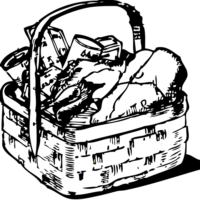 Laundry drawing basket. Clipart of a black