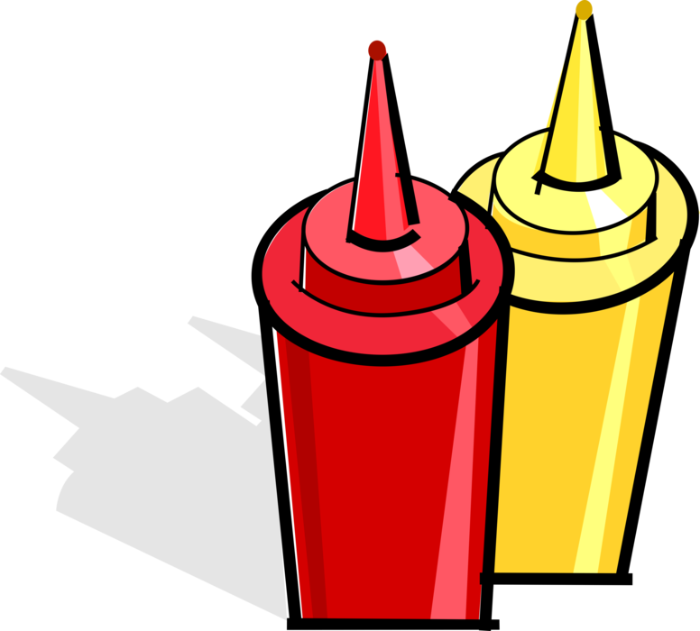 Ketchup and mustard png. Condiment bottles vector image