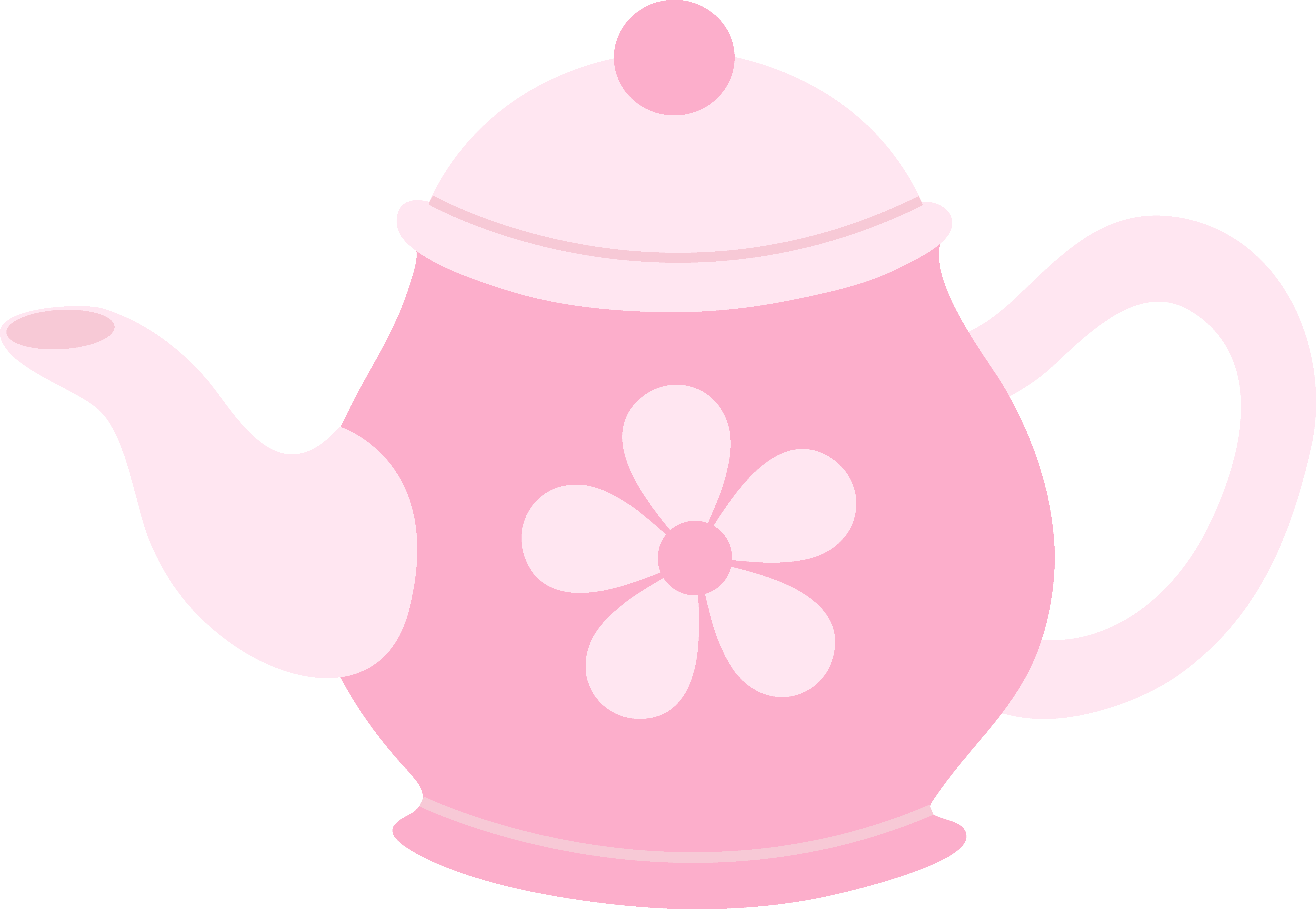 Kettle drawing cartoon. Pink teapot with flower