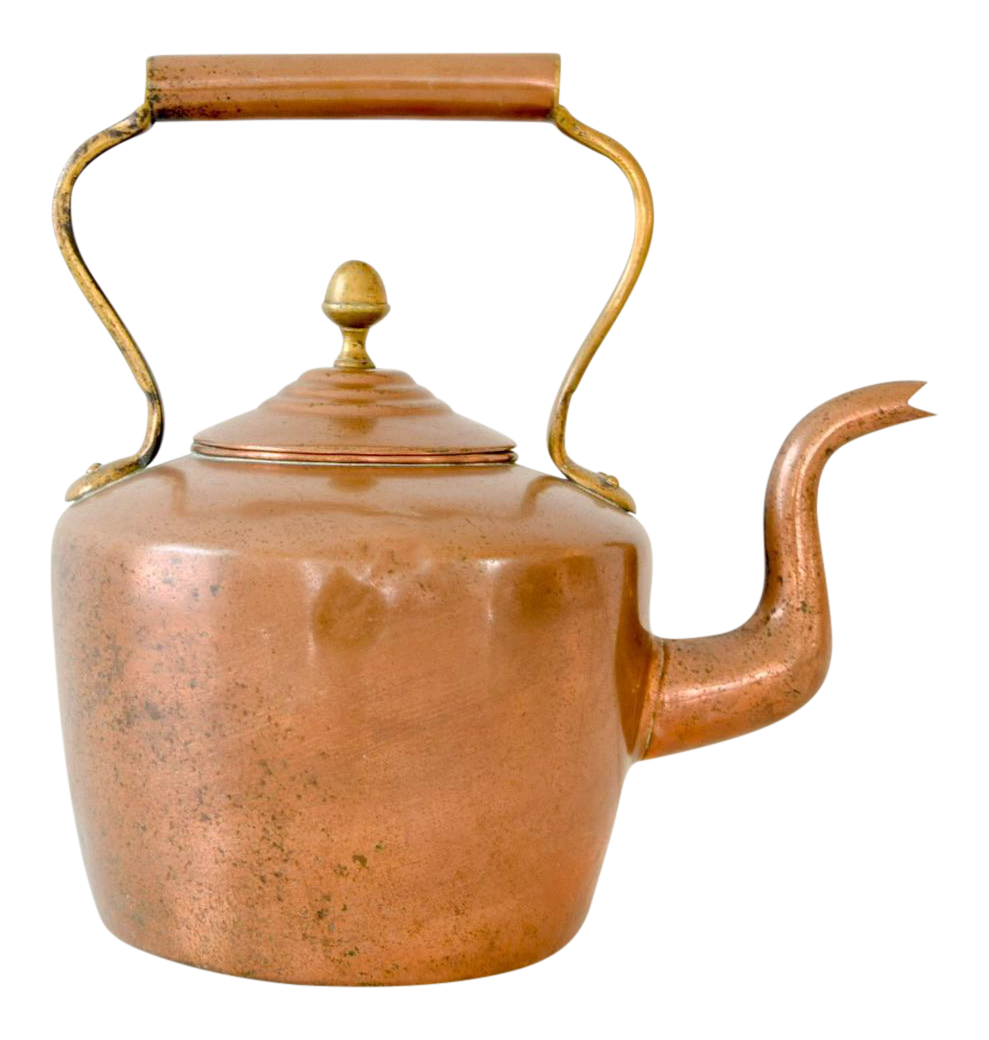 Kettle drawing product design. Large antique copper brass