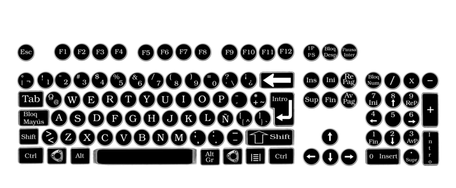 Keyboard keys png. Vintage round by pendragon