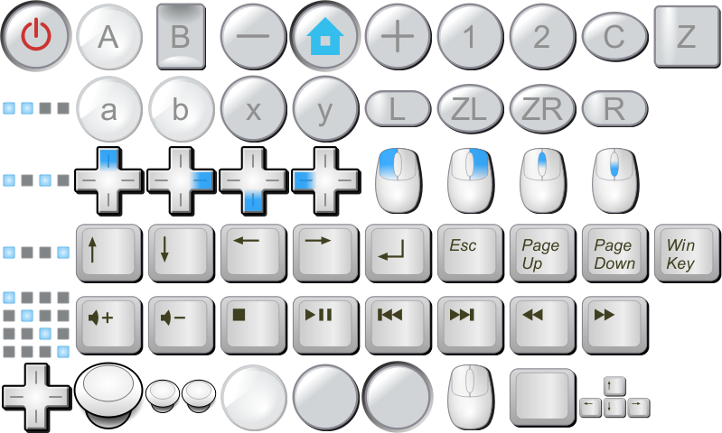 Keyboard clipart plain. Wii buttons mouse keys